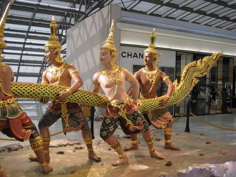 Annoying a big snake at Bangkok airport